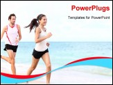 PowerPoint Template - sport - couple running on beach training for marathon run. Young multiracial couple runners, smiling asian female fitness model and caucasian male model