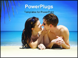 PowerPoint Template - a portrait of attractive couple having chat on the beach