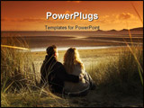 PowerPoint Template - couple hugging in sand dunes watching sunset