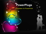 PowerPoint Template - Colorful glossy and shiny heart shapes on black background