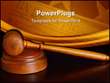 PowerPoint Template - court gavel on desk over dark background