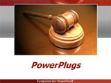 PowerPoint Template - Close up of a court gavel on white and grey background