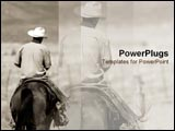 PowerPoint Template - Lone cowboy rides his horse.