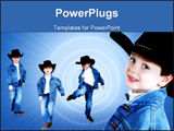PowerPoint Template - Collage of a four year old boyin denim and a black cowboy hat over white