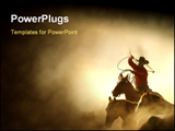 PowerPoint Template - cowboy in the desert chasing the herd of horses