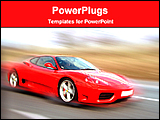 PowerPoint Template - a red sports car in a motion view
