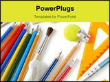 PowerPoint Template - some educational tools set on white background
