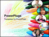 PowerPoint Template - Crayons to draw and paint on a blank page