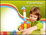 PowerPoint Template - child plays with toy blocks isolated on white
