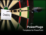 PowerPoint Template - bullseye game concept, arrow and dartboard closeup