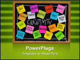 PowerPoint Template - reativity concept - related cloud of words color sticky notes and white chalk handwriting on blackb
