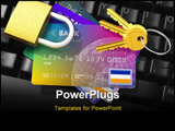 PowerPoint Template - Security concept - credit cards keys and padlock on black PC keyboard