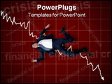PowerPoint Template - Concept of business man trying to stop the dollar go down or to stop dollar to crash