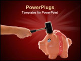 PowerPoint Template - Hand with hammer breaking piggy bank isolated