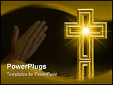 PowerPoint Template - golden cross reflected in water with light burst star effect in middle of cross and room for text