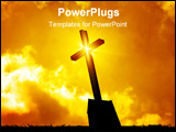 PowerPoint Template - ross on top of church in silhouette with light burst star effect and beautiful dramatic orange-yell