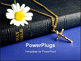 PowerPoint Template - Old bible, with gold crucifix and daisy.