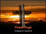PowerPoint Template - a rugged cross in front of a beautiful sunrise.
