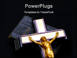 PowerPoint Template - striking full color image of an old crucifix laying on top of an ancient leather bound bible