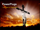 PowerPoint Template - Christian cross with Jesus Christ in beautiful sunrise