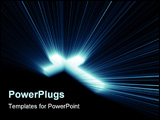 PowerPoint Template - Beautiful 3d Cross blue lights and rays