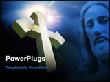 PowerPoint Template - Christian stone cross with halo over a background of dark sky & lightning