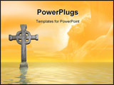 PowerPoint Template - Rendered stone cross or crucifix Celtic version