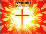 PowerPoint Template - vector illustration of many hands around hot sun