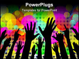 PowerPoint Template - Cheering people hands silhouettes with lights