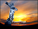 PowerPoint Template - marble holy cross with crucified Jesus Christ against dramatic sunset