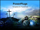 PowerPoint Template - rucifixion and resurrection 2d coloured digital illustration stylized in photoshop of the crucifixi