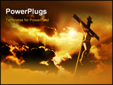 PowerPoint Template - crucifixion of Jesus Christ with dramatic sky in background