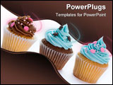 PowerPoint Template - Three cupcakes in a row isolated against white