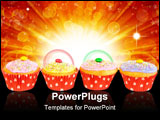 PowerPoint Template - A row with cupcake muffins with red paper