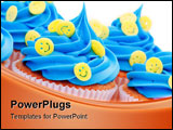 PowerPoint Template - Cupcakes decorated with yellow smiley face sprinkles
