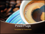PowerPoint Template - Just browed coffee with some coffee beans around
