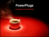 PowerPoint Template - coffee cup over red black background