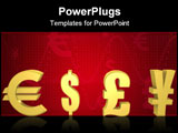 PowerPoint Template - Isolated currencies to pick in gold - a 3d image