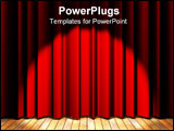 PowerPoint Template - Wooden floor stage and a red curtain in the background