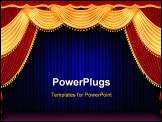 PowerPoint Template - The Red theater curtain background with blue