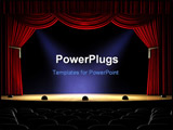 PowerPoint Template - Theater stage with red curtain and spotlights on the stage floor