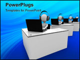 PowerPoint Template - 3d man support center isolated on white