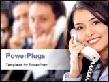 PowerPoint Template - customer support team lead by a friendly girl smiling in an office