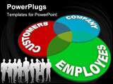 PowerPoint Template - A customer service venn diagram of three circles marked Customers Company and Employees