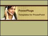 PowerPoint Template - Women in customer service with headphones