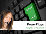 PowerPoint Template - grey computer keyboard with big service button
