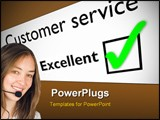 PowerPoint Template - customer service feedback form with green tick on excellent.