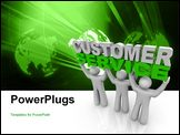 PowerPoint Template - Three customer service representatives lift the words