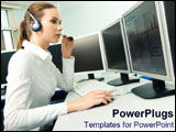 PowerPoint Template - Female customer service representative works away.