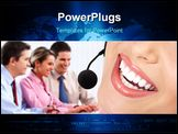 PowerPoint Template - Beautiful call center operator with headset. Isolated over white background